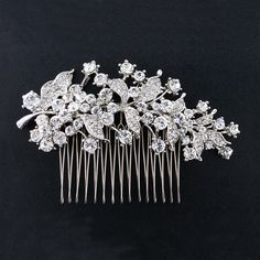 Bridal Hair Comb with Crystal - A beautiful, glittering accent piece that can be worn on the side or in the back.