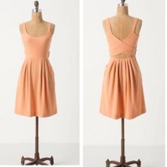 """SPRING SALE: Anthro Peach Rolo Cross Back Dress Worn once! :) Tie your look together with this open-back jacquard frock, striped with rope and chain links. Pullover styling. Fabric: Cotton, polyester, spandex; rayon lined bodice. Hand wash  37.5""""L  Imported Anthropologie Dresses"""