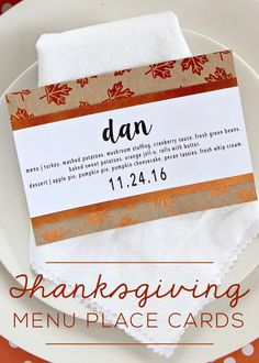 Dress up your table and help guests find their seat with these simple DIY Thanksgiving Menu Place Cards.