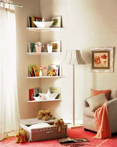 Every kids room has corners that are awkward places to decorate. Corner shelves that create a pretty storage spaces for kids toys and books are space saving and attractive kids room decorating ideas. Shelves In Bedroom, Small Room Bedroom, Bedroom Storage, Bedroom Decor, Bedroom Kids, Trendy Bedroom, Bedroom Simple, Bedroom Wall, Corner Shelves Living Room