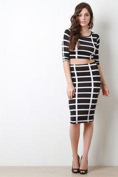 Grid Print Midi Pencil Skirt – SheLuvsIt.com