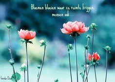 """""""Bloemen bloeien waar ze ruimte krijgen, Mensen ook"""""""