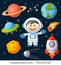 set of space elements. astronaut earth saturn moon ufo rocket comet constellation sputnik and stars Space Party, Space Theme, Desenho Kids, Ufo, Cartoon Spaceship, Astronaut Party, Crafts For Kids, Diy Crafts, Ecole Art