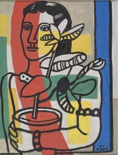 / Léger, Fernand (1881 - 1955)  Une femme tenent un pot de fleurs (1952)