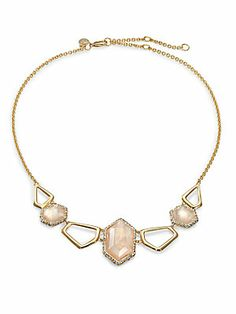 Alexis Bittar Citrine Doublet, Mother-of-Pearl & Crystal Bib Necklace