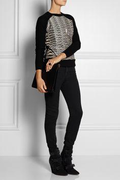 animal print sweater - black jeans - black boots