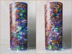 RichanaDragon ||| Large (50x20 cm) flower vase. Also can be used as lamp (or LED) shade. Hand painted stained glass.