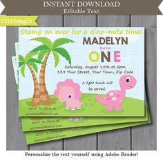 Pink Dinosaur Girl 1st Birthday Party Invitation  by printmagic