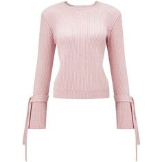 Pink Tie Cuff Knitted Jumper ($44) ❤ liked on Polyvore featuring tops, sweaters, tie sweater, miss selfridge, jumpers sweaters, pink top and pink sweater
