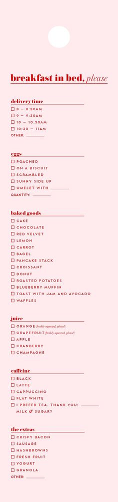 A downloadable breakfast-in-bed menu for room service requests this weekend and beyond.