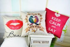 "* 18 "" Decorative Linen Cushion Cover Home Decor Ikea Love Lip Sofa Throw Pillow Cover Wedding Supplies capa de almofada Sofa Throw Pillows, Throw Pillow Covers, Cushions, Lips Sofa, Love Lips, Keep Calm And Love, Wedding Supplies, Home Textile, Ikea"