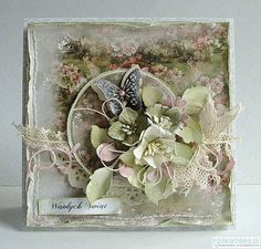 From Dorota Kopec in Stalowa Wola, Podkarpackie, Poland. Shabby Chic Karten, Shabby Chic Cards, Butterfly Cards, Flower Cards, Mixed Media Cards, Beautiful Handmade Cards, Heartfelt Creations, Card Making Inspiration, Pretty Cards