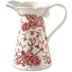 Mud Pie Red Holly Toile Pitcher (125 BRL) ❤ liked on Polyvore featuring home, kitchen & dining, serveware, red, red pitcher, stoneware pitcher, red serveware and red stoneware