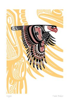 Eagle Nation: Coast Salish Artist: Todd Baker - The Native American's Art Arte Inuit, Arte Haida, Haida Art, Inuit Art, Arte Tribal, Tribal Art, Native American Symbols, Native Symbols, Eagle Art