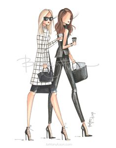 black & white | office outfit ideas | what to wear to work | but first, coffee | fashion illustration | Brittany Fuson