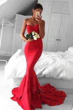 Long custom Prom Dress,red Prom Dress, strapless Prom Dress,mermaid Prom Dress, jersey prom dress,popular prom dress,2016 prom dress,sexy prom dress,junior prom dress,PD0035