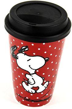 Snoopy - Taza para llevar, color rojo