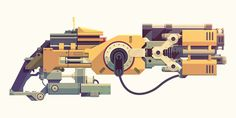 Epic Armory: Flak Cannon designed by Justin Mezzell. Connect with them on Dribbble; Sci Fi Weapons, Concept Weapons, Prop Design, Game Design, Property Design, Flat Illustration, Vector Illustrations, Affinity Designer, Graphic Design Typography