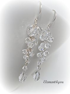 Bridal Crystal Earrings Clear Crystal Teardrop by Element4you, $32.00