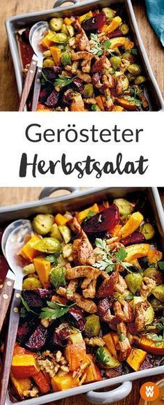 Gerösteter Herbstsalat mit Schnitzelstreifen How about a warm autumn salad? This recipe from Weight Watchers is delicious, healthy and full! I Weight Watchers Recipe I Weight Watchers Germany I WW Recipe I Salad Ww Recipes, Clean Recipes, Cooking Recipes, Healthy Recipes, Dinner Recipes, Plats Weight Watchers, Weight Watchers Meals, Clean Eating, Healthy Eating