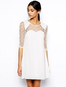 White Half Sleeve Contrast Sheer Spot Mesh Yoke Dress