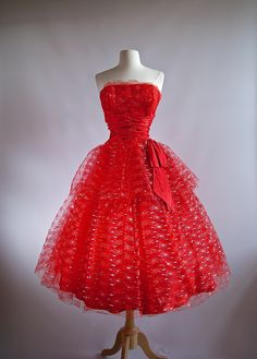 Vintage dress ~ 1950s Dress ~ 50s Red Prom Dress at Xtabay.