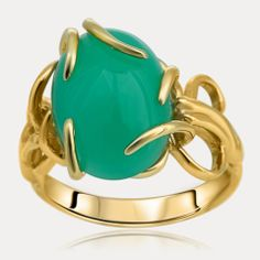 14K Yellow Gold Ring with Chrysoprase