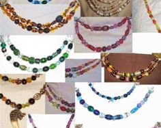 SCA Garb Norse Viking Medieval Cascade Necklace TWO Strand Ovrsz Lampwk Glass Beads Your CHOICE colors Free ship