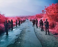 Richard Mosse is an Irish conceptual documentary photographer. His best konwn works are photographs of the war in the Congo using colour infrared film. Color Photography, Film Photography, Street Photography, Congo, Richard Mosse, Fondation Cartier, Photo Fair, Infrared Photography, Documentary Photographers