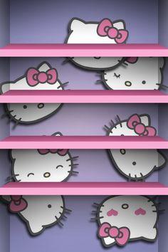 Hello kitty shelves iPhone Wallpaper
