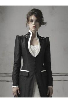 Robe en noir et blanc avec manches longues robe de mariée hiver More