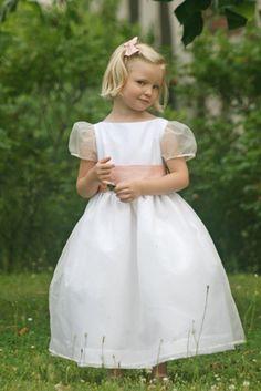 908dc9c26 Alix white silk organza flower girl dress with organza puff sleeves and pink  sash - littleeglantine