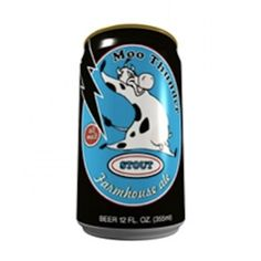Cerveja Moo Thunder Stout, estilo Sweet Stout, produzida por Butternuts Beer & Ale, Estados Unidos. 4.9% ABV de álcool.