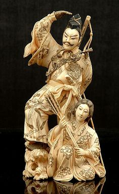 japanese okimono | Japanese ivory okimono of an Archer and Attendant Meiji… - Okimono ...