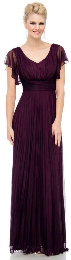 Dark purple with sleeves. Long bridesmaid dress.