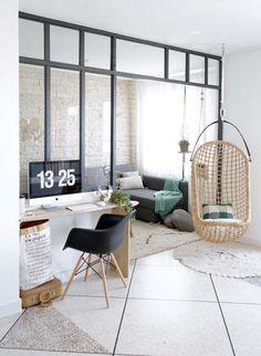 living room / decor / home office / black and white / hand made decor / Home Interior, Interior Architecture, Apartment Interior, Indoor Canopy, Home Living Room, Living Spaces, Small Living, Home And Deco, Dream Decor