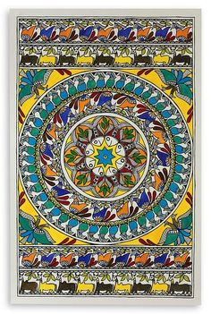 Traditional Madhubani Folk Art Painting - Nature's Feast | NOVICA
