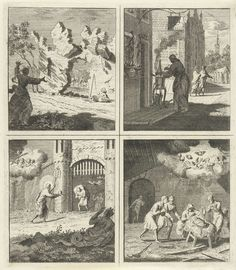 Cornelis van Noorde | Voorzichtigheid is de moeder van de wijsheid / Apotheek / Christus biedt genade en vrijheid aan / Geboorte van Christus, Cornelis van Noorde, in or before 1767 | Vier voorstellingen. Linksboven: een vrouw heft haar handen ten hemel, als zij ziet dat er rotsblokken losraken en neervallen op een rustende man. Afbeelding bij een oproep tot voorzichtigheid. Rechtsboven: een apotheker bij een komfoor voor de Wereldse apotheek. In de apotheek van de Wereld is echter geen…