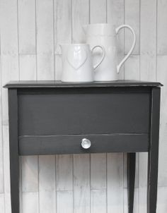 """Upcycled side table, painted in Autentico """"Nearly Black"""""""