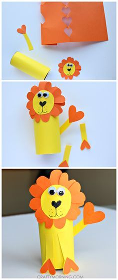 Heart shape lion craft made out of toilet paper rolls! #Valentine's day art project for kids | CraftyMorning.com