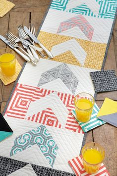 Modern Geometrics Table Runner + Coasters PDF from Love Patchwork & Quilting