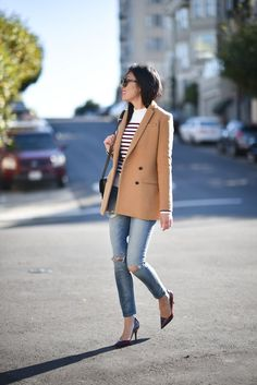 We love how 9 to 5 Chic styled this Banana Republic camel blazer & distressed Madewell jeans with a perfect striped shirt.