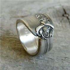 Jewelry Made From Old Silverware | Spoon Ring Antique Silverware Jewelry Rose Pattern