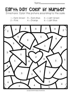 Kindergarten Math Activities, Pre K Activities, Kindergarten Worksheets, Earth Day Worksheets, Earth Day Activities, Printable Worksheets, Free Printables, April Preschool, Numbers Preschool