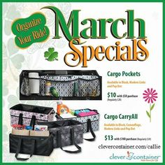 Going on a roadtrip -- or just to the grocery store? Organize your ride with our March Specials! Save 70% on Cargo Pockets when you spend $50, and save another 70% on a Cargo CarryAll when you spend $100. See my website clevercontainer.com/callie for more details. I would love to be your consultant!  Offer valid 3/1/17 - 3/31/17.