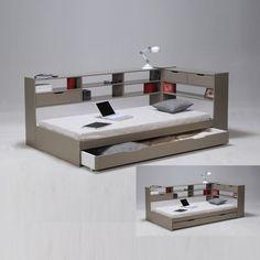 Id es pour la maison on pinterest lit mezzanine banquettes and bureaus - Lit 180x200 avec tiroir ...