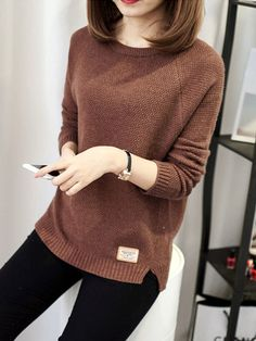 Shop Sweaters - Coffee Knitted Long Sleeve Sweater online. Discover unique designers fashion at PopJuLia.com.