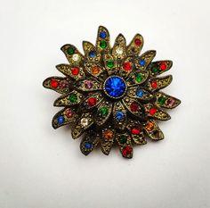 vintage FLAPPER FLOWER rhinestone brooch, 1920s -- Antique jewelry ...