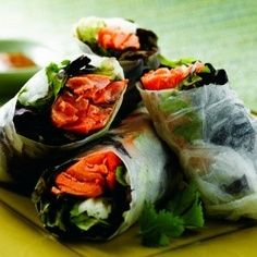 Rice Paper Wrapped Alaska Salmon Rolls