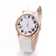 Lovely Cute Cat Pattern Watch Women Ladies Casual Watches Hot Fashion Style Wristwatch Quartz Dress Watches Reloj Mujer LZ2060
